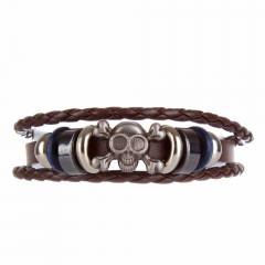 EVBEA Unisex Leather Skull Bracelets Rock Punk Stainless Steel Skeleton Charms Cuff Bracelet Bangles Casual Jewelry