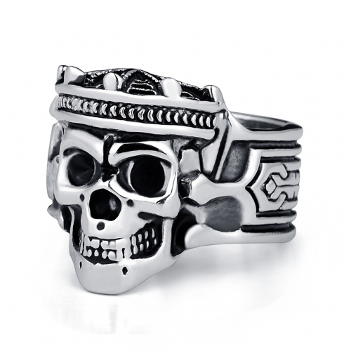 Tattoo Boho Rock Roll kpop Silver Gothic Punk Crown King Skull Big Rotating Bikers Bible Rings Men's & Boys' Jewelry