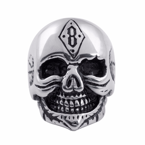EVBEA Fashion Men Gothic Character Skull Stainless Steel Biker Ring Death Skull Ring For Boy Father Birthday Gift