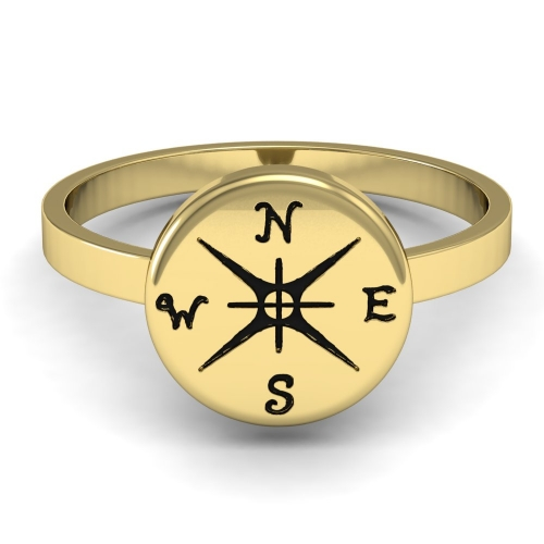 Gold Punk Women Outdoor Jewelry Ring The Original Custom Compass Journey Ring Customised Specially