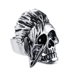 Hip Hop Rock Silver Large Adjustable Size Biker Couple Rings Wholesale Party Jewelry Accessories