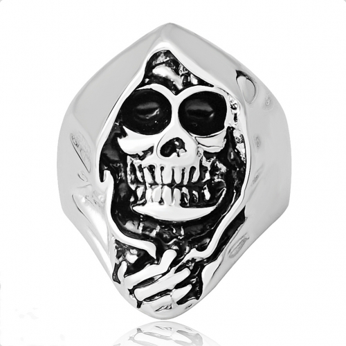 Hip Hop Punk Skull  Bible Adjustable Silver Rings Men Jewelry