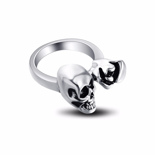 Graduation Pinky Hip Hop Rock Silver Punk Skull Big Adjustable Bikers Motorcycle Rings Men's& Boys' Jewelry