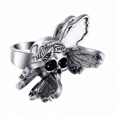 Male Perfume Taste Exaggerate Rock Roll Punk Skull Pirate Adjustable Silver Couple Rings Men's Party Jewelry Accessories