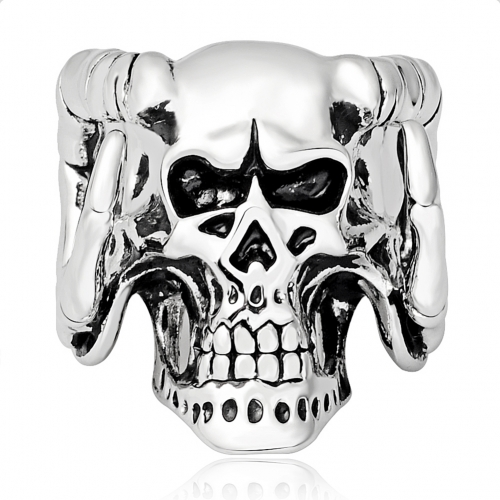 Racing Gothic Men's Biker Angry Evil Skull Skeleton Silver Adjustable Rings  Men Jewelry