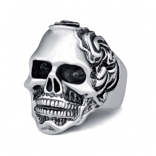 Graduation Rock Roll kpop Silver Gothic Punk Wavy Skull Big Adjustable Rotating Bikers Bible Rings Men's & Boys' Jewelry