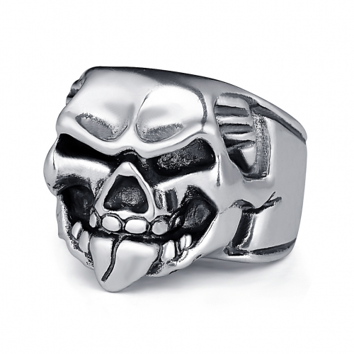 Rock Roll kpop Silver Gothic Punk Mustache Skull Big Adjustable Rotating Bikers Bible Rings Men's & Boys' Jewelry