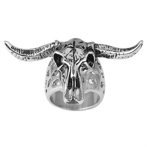 Gothic Punk Skull Adjustable Big Silver Biker Rotating Unicorn Chamois Party Rings Men's Jewelry
