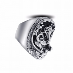 Graduation Titanium  Alloy Boho Silver Gothic Punk Solider Skull Big Adjustable Rotating Bikers Bible Rings Men's Jewelry