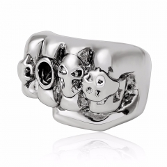 Gothic Punk Skull Adjustable Big Silver Biker Rotating Fist Party Rings Buccaneer Woman Men's Jewelry