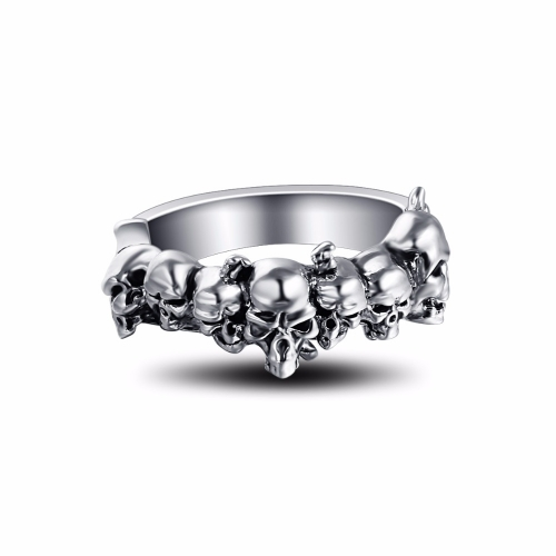 Graduation Pinky Cool Boho Silver Gothic Punk Skull Big Adjustable Rotating Bikers Motorcycle Rings Men's&Boys' Jewelry