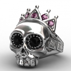 EVBEA 316L Stainless Steel Pink Crown Skull Ring High Quality Fashion Biker Skull Ring Personality Men Jewelry New Design