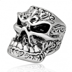 Tattoo Hip Hop Punk Big Skull Adjustable Silver Bikers Rings Men Jewelry for Party