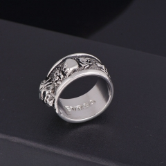 Rock Roll kpop Silver Gothic Punk Old Wrinkle Skull Big  Rotating Bikers Bible Rings Men's & Boys' Jewelry