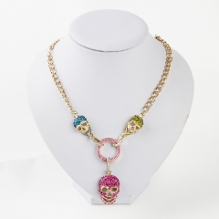 Skull Jewelry Crystal Rhinestone Necklace Skeleton Pendant Chokers Hip hop Accessories for Women