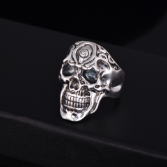 Graduation Hip Hop Rock Bar Silver Large Adjustable Size Skull Biker Couple Rings Wholesale Party Jewelry Accessories