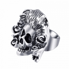Graduation Stretch Exaggerate Rock Roll Punk Handsome Skull Adjustable Silver Couple Rings Men's Party Jewelry Accessories