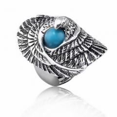 Hip Hop Rock Silver Large Adjustable Size  Eagle Bird with TurquoiseBiker Couple Rings Wholesale Party Jewelry Accessories
