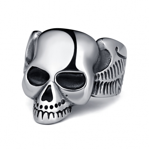 Graduation Hottest Rock Roll kpop Silver Gothic Punk Slim Face Cute Skull Big Rotating Bikers Bible Rings Men's & Boys' Jewelry