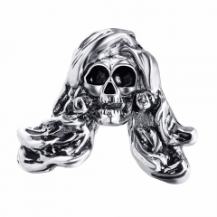 Exaggerate Rock Roll Punk Long Hair Skull Silver Biker Couple Rings Men's Party Jewelry Accessories