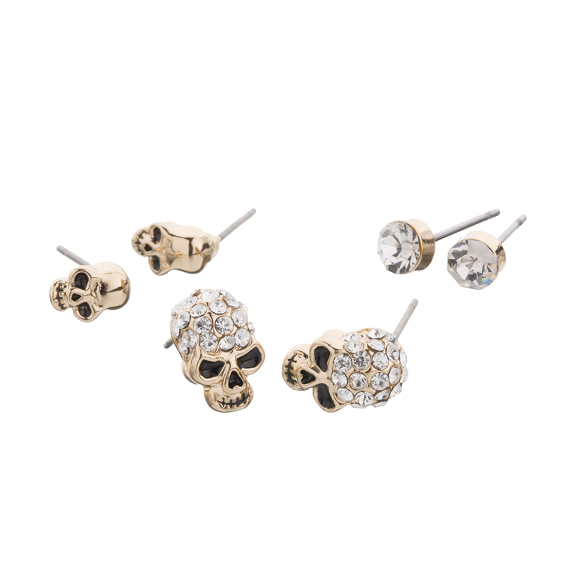 Fancy Products Hip Hop Boho Punk 3 Pairs 1set Silver Plated Skull Earrings Stud Women Fashion Jewelry Accessories Bpan