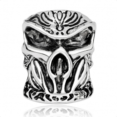Graduation Silver Gothic Punk Unicorn Skull Adjustable Rotating Big Party Bikers Rings Men's Jewelry