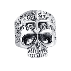 Wholesale Men Jewelry Adjustable Wide Punk Silver Metal Biker Couple Rings Skull Jewelry for Men and Women