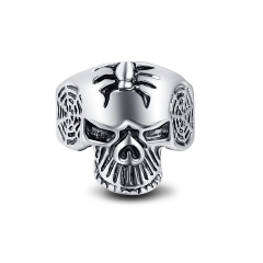Boho Silver Gothic Punk Skull Big Adjustable Rotating Bikers Bible Rings Men's & boys' Jewelry