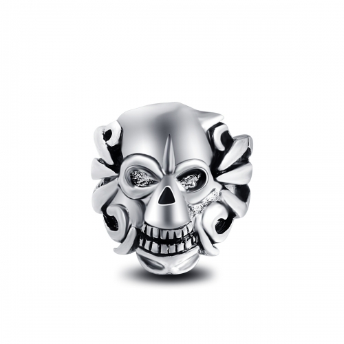 Racing Stretch Silver Gothic Punk Skull  Big Adjustable Rotating Bikers Bible Rings Men's Jewelry