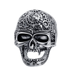 Black Friday Stretch Rock Roll Tattoo Punk Skull Adjustable Silver Couple Rings Men's Party Jewelry Accessories EVBEA R264