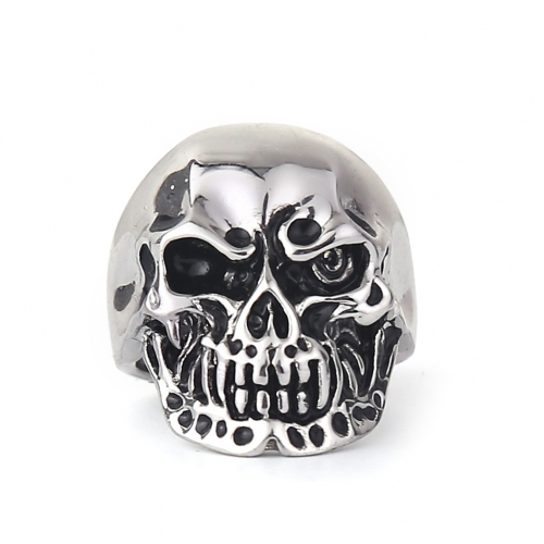 EVBEA Punk Style Men's Hip And Top Rings Cool Skulls Titanium Steel Rings For Boys Rock Punk Jewelry Accessories