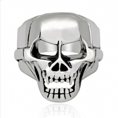 Titanium Alloy Rock Kpop Silver Gothic Punk Unicorn Skull Rotating Big Bikers Bible Rings Men's Jewelry