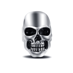 Titanium Alloy Cool Hip Hop Rock Punk Skull Big Adjustable Silver Plated Rings Bikers Motorcycle Men's & Boys' Jewelry