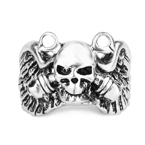 EVBEA Skull Ring Man Never Fade Punk Biker Man's High Quality Ring Adjustable Punk Rock Ring Jewelry