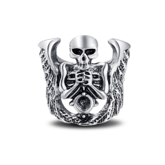 EVBEA Cool Hell Death Skull Ring Man Never Fade Punk Biker Man's High Quality Ring Punk Skull Jewelry
