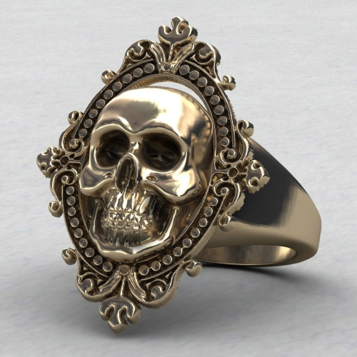 EVBEA Charming Ancient Gold Skull Ring Big Huge Ghost Skull Ring Men Boys Polishing Biker Ring Skull Rings