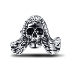 Black Friday Stretch Hip Hop Rock Boho Silver Punk Skull Big Adjustable Bikers Motorcycle Cocktail Rings Men's & Boys' Jewelry