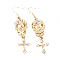 EVBEA Hip Hop Party Punk Silver Plated Skull Long Dangle Cross Earrings Women Fashion Jewelry Accessories BPAN