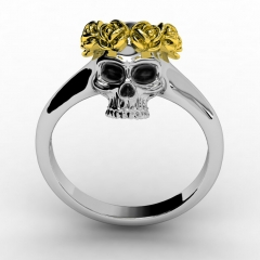EVBEA  Skull Ring Vintage Wedding Rings For Women Fashion Yellow Flower Jewelry