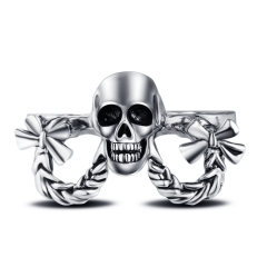 Hip Hop Rock Silver Punk Skull Big Adjustable Knuckle Three Fingers Bikers Motorcycle Rings Men's & Boys' Jewelry Tint Coating
