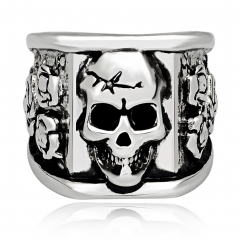 Graduation Coll Rock Boho Silver Gothic Punk Unicorn Skull Rotating Big Bikers Rings Men's Jewelry