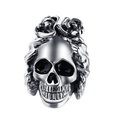 Stretch Exaggerate Tattoo Rock Roll Punk Wavy Hair Skull Adjustable Big Silver Couple Rings Men's Party Jewelry Accessories