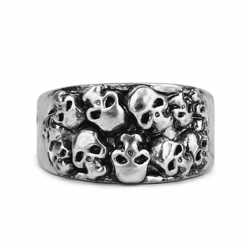 EVBEA Steel Soldier Stainless Steel Men Punk Skull Ring Vintage Domineering Skull Zinc Alloy Punk Biker Jewelry