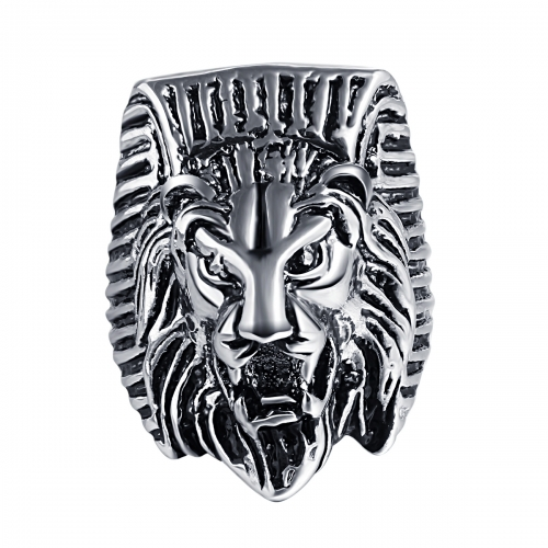 Hip Hop Rock Silver Punk Skull Big Adjustable Lion Bikers Motorcycle Rings Men's & Boys' Jewelry with  Stones