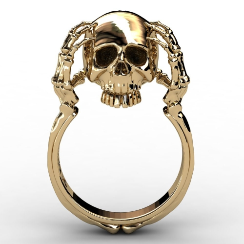 EVBEA Wholesale Cheap Cool Hell Death Gold Skull Ring Man Never Fade Punk Biker High Quality Ring