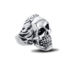 Stretch Cool Hip Hop Rock Punk Skull Big Adjustable Rotating Silver Plated Rings Bikers Motorcycle Men's & Boys' Jewelry