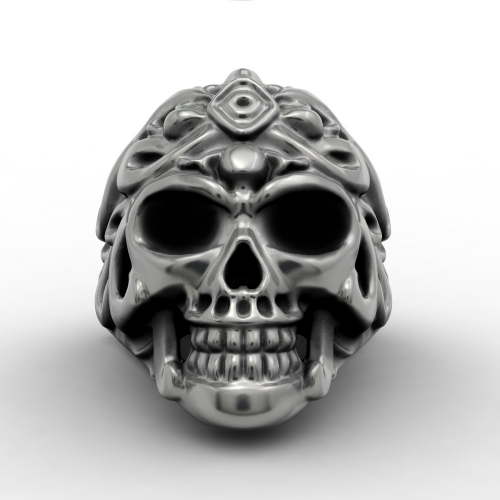 EVBEA Vintage Ruby Eyes Skull Biker Ring For Men Punk and Gothic Style Jewelry