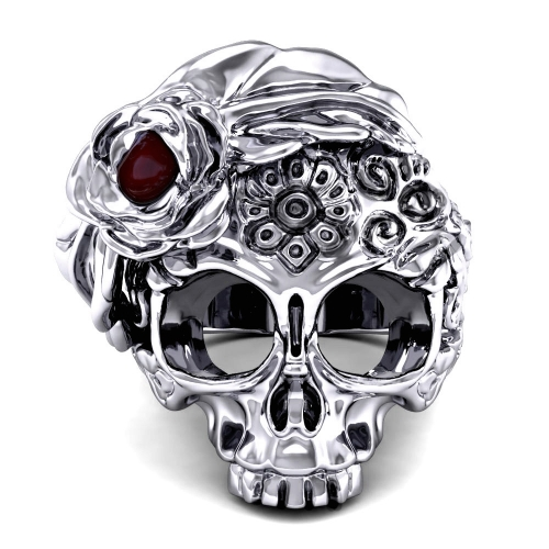 Women's Gothic Style Sugar Skull Flower Ring with Ruby Vintage Punk Jewelry