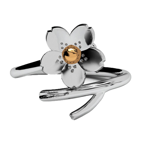 Exquisite Sakura Open Rings Cute Floral Vine for Women&Girls White Gold Plated Fashion Jewelry