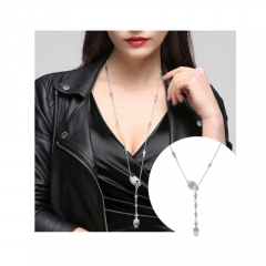 Cool Skull&Cross Pendant Long Chain Necklaces for Women&Girls Punk Jewelry